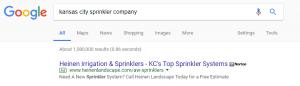 An active google campaign bidding for sprinkler keyword