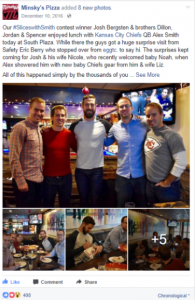 A contest hosted by Minsky's Pizza where lucky winners were able to have a lunch with Alex Smith