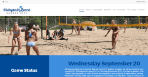 A screenshot of the Volley Ball Beach home page where beach-goers are playing sand volleyball, below shows an up to date status of each game