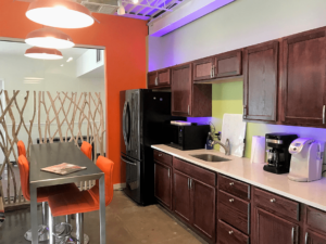 The Zephyr Kitchen where you can help yourself to food, coffee, and snacks