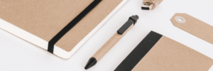 Office supplies, notebooks, a pen and flash drive all tan colored with black accents laid out in a linear fashion