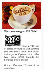 Email marketing of eggtc VIP offering products at no cost