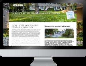 A mockup design of Heinen Landscape Kansas City Irrigation and Sprinklers website home landing page
