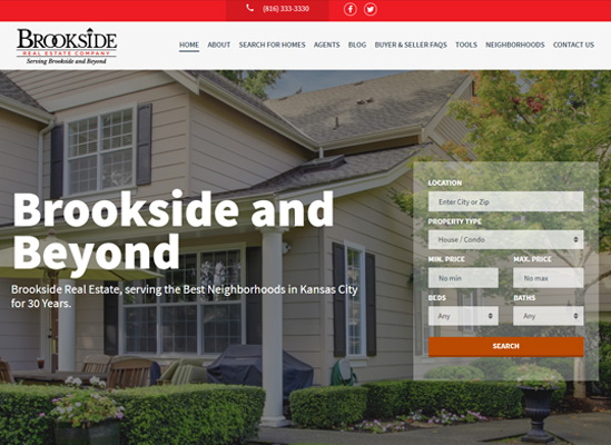 The home page website of Brookside Real Estate