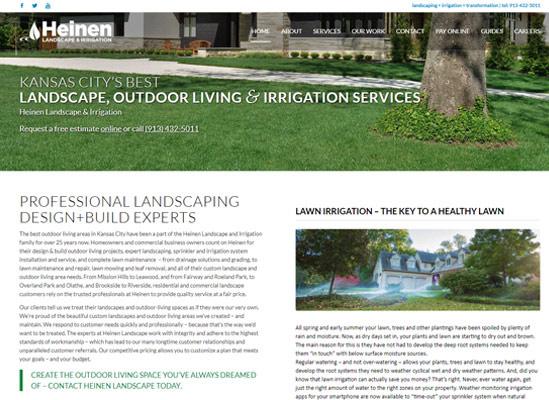 The home page of Heinen Landscape Kansas City Irrigation and Sprinkler System