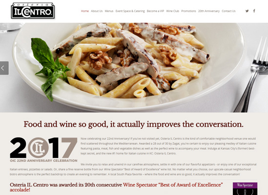 The home page website of Osteria Il Centro