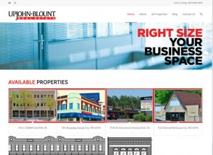 The website home page of Upjohn Blount Real Estate