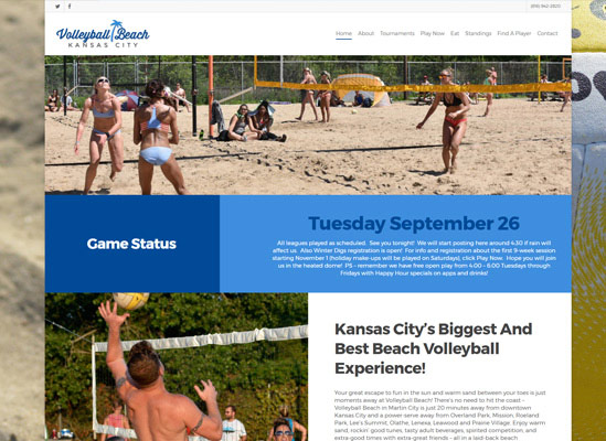 The home page for Volleyball Beach