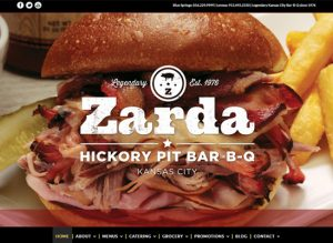 The home page of Zarda BBQ